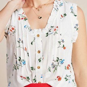 Anthropologie Maeve Floral Print Ruffle Sleeve Top